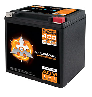 420 CRANK AMPS / 30AMP HOURS AGM Power Sports 12V Battery